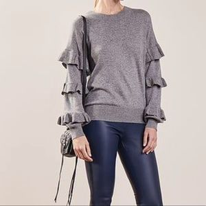 J Crew wool acrylic Sweater with ruffle sleeves XL